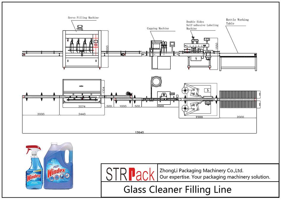 自動玻璃清潔劑灌裝線